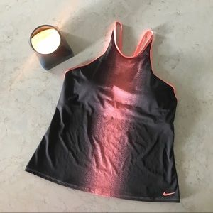 Nike Grey + Coral High Neck Racer Back tank